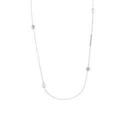 Maxikette für Damen aus Edelstahl mit Glasperlen