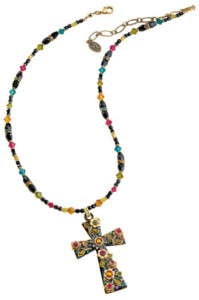 Michal Golan: Collier 'Multi Flower Crystal Cross', Collier, Schmuck