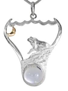 Mond Anhänger 925 Silber 1001 Diamonds bunt