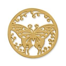 Münze Edelstahl Schmetterling gelbgold