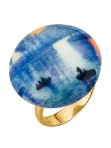 Muranoglas-Ring Diemer Silber Blau