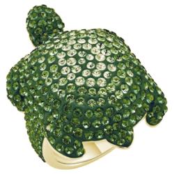 Mustique Sea Life Turtle Ring, groß, grün, vergoldet