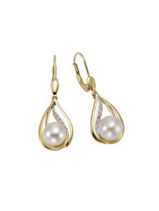 Ohrhänger 585/- Gelbgold Perlen Brillanten 585/- Gold Süßwasserzuchtperle weiß 3,35cm Glänzend Orolino gelb