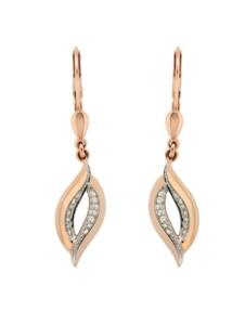 Ohrhänger 585/- Gold Brillant weiß Brillant 3,6cm Glänzend 0.1000 Karat Orolino rosa