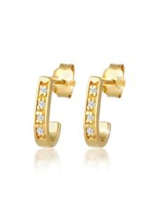 Ohrringe Creolen Elegant Diamant (0.04 Ct.) 585 Gelbgold DIAMORE Gold