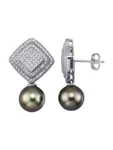 Ohrringe Diemer Perle Grau