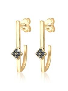 Ohrringe Hänger Geo Schwarzer Diamant (0.12 Ct.) 925 Silber Elli Premium Gold