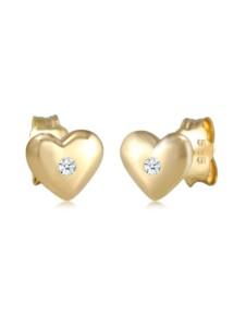 Ohrringe Kinder Herz Diamant (0.03 Ct.) 585 Gelbgold Elli Premium Weiß