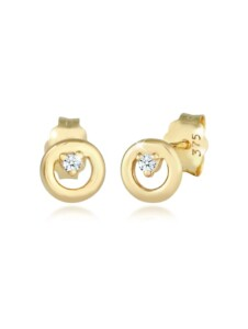 Ohrringe Kreis Rund Diamanten (0.03 Ct) Edel 375Er Gelbgold DIAMORE Gold