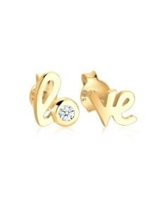 Ohrringe Love Wordings Liebe Diamant 0.03 Ct. 585 Gelbgold DIAMORE Weiß
