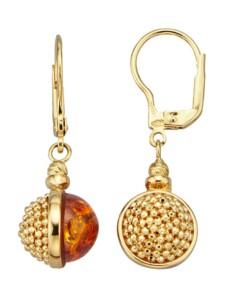 Ohrringe mit Bernsteinen Diemer Gold Orange