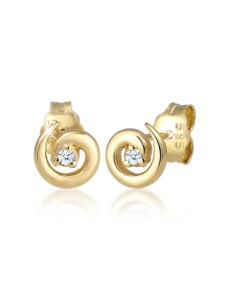 Ohrringe Stecker Spirale Diamanten (0.03 Ct) 585Er Gelbgold DIAMORE Gold