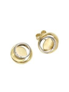 Ohrstecker 585/- Gelb- + Weißgold Brillant 585/- Gold Brillant weiß 1,2cm Glänzend 0,02ct Orolino mehrfarbig
