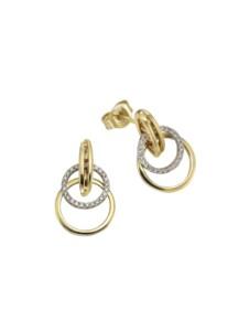 Ohrstecker 585/- Gelb- + Weißgold Brillant 585/- Gold Brillant weiß 1,9cm Glänzend 0,20ct Orolino mehrfarbig