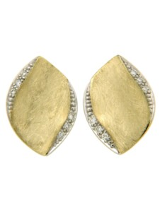 Ohrstecker 585/- Gold Brillant weiß Brillant 1,4cm Matt 0.0600 Karat Orolino gelb