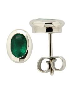Ohrstecker 585/- Gold Smaragd grün 0,85cm Glänzend Orolino Silbergrau