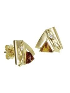 Ohrstecker – Benita – Gold 585/000 – Bernstein/Brillant OSTSEE-SCHMUCK gold