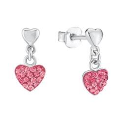 Ohrstecker Herzen aus Sterlingsilber Zirkonia, pink