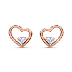 Ohrstecker Herzen für Damen aus Sterlingsilber, rosé