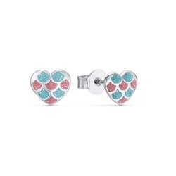 Ohrstecker Herzen für Mädchen aus 925er Silber, Emaille