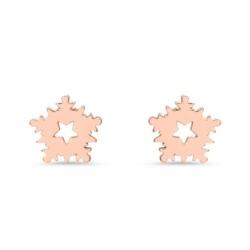 Ohrstecker Schneeflocken aus 925er Silber, rosé