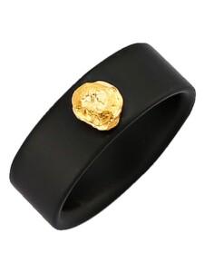 Onyx-Ring mit Gold-Nugget Diemer Farbstein Schwarz