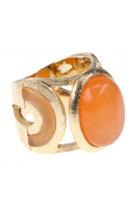 Orange Jade Cocktail Ring vergoldet