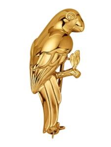 Papagei-Brosche Diemer Gold Gelbgoldfarben