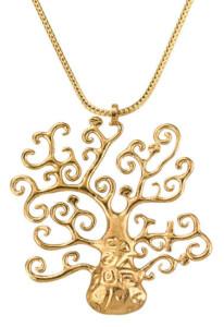 Petra Waszak: Collier 'Goldener Lebensbaum' – nach Gustav Klimt, Collier, Schmuck