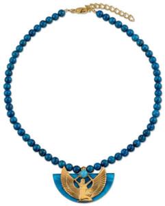 Petra Waszak: Collier 'Isisschwinge' mit blauen Lapislazuli-Perlen, Collier, Schmuck