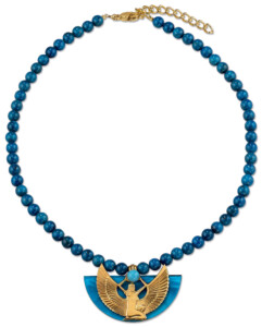 Petra Waszak: Collier 'Isisschwinge' mit blauen Lapislazuli-Perlen, Schmuck