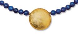 Petra Waszak: Collier 'Sonnenscheibe' mit Lapislazuli-Perlen, Collier, Schmuck