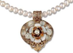 Petra Waszak: Perlencollier 'Herz des Jugendstils', Collier, Schmuck
