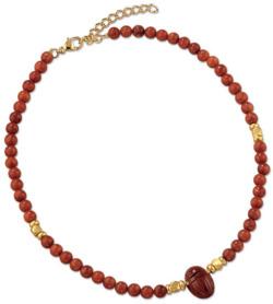 Petra Waszak: Skarabäus-Collier aus Jaspis und Zuchtkorallen-Perlen, Collier, Schmuck