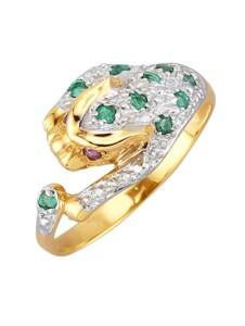 Raubkatzen-Ring mit Smaragden KLiNGEL Grün