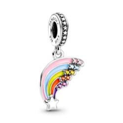 Regenbogen Charm Anhänger aus 925er Silber mit Emaille