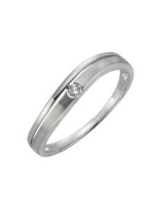 Ring 375/- Gold Brillant weiß Brillant Matt/Glanz 0,06ct. Diamonds by Ellen K. weiß