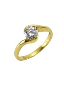 Ring 375/- Gold Zirkonia weiß Glänzend Celesta gelb