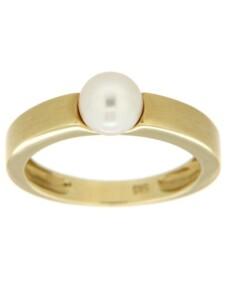 Ring 585/- Gold Akoya Zuchtperle weiß Glänzend Orolino gelb