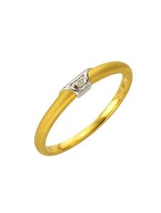 Ring 585/- Gold Brillant weiß Brillant Bicolor 0,01ct. Diamonds by Ellen K. gelb