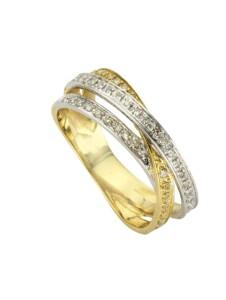 Ring 585/- Gold Diamant weiß Diamant Bicolor 0,24ct. Diamonds by Ellen K. gelb