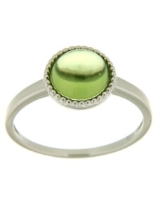 Ring 585/- Gold Peridot grün Glänzend Orolino weiß