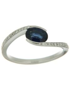 Ring 585/- Gold Safir blau Safir Glänzend 0.1500 Karat Orolino Silbergrau