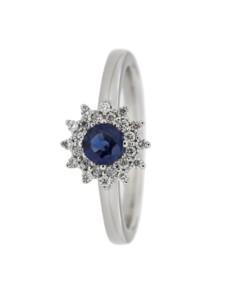 Ring 585/- Gold Safir blau Safir Glänzend 0.1900 Karat Orolino weiß
