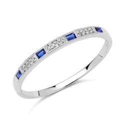 Ring 585er Weißgold 12 Diamanten 4 Saphire