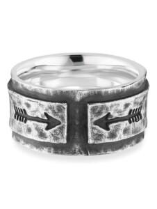Ring 925/- Sterling Silber Mattiert CAI Silbergrau