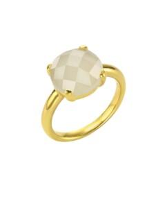 Ring 925/- Sterling Silber Mondstein weiß Glänzend Jamelli gelb