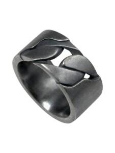 Ring 925/- Sterling Silber ohne Stein Geschwärzt CAI weiß