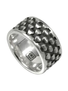 Ring 925/- Sterling Silber ohne Stein oxydiert CAI Silbergrau