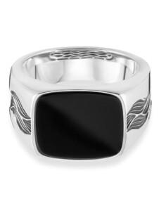 Ring 925/- Sterling Silber Onyx schwarz Glänzend 3,00ct CAI weiß